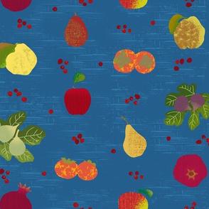 Fall Fruit Medley Blue Basket