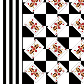 Queen of Hearts Black Stripes Border Print