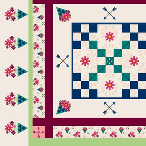 Boho Flowers Cheater Quilt