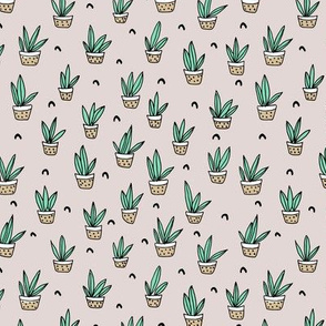 Pop culture series aloe vera green home garden plants and pots illustration print design gender neutral beige SMALL