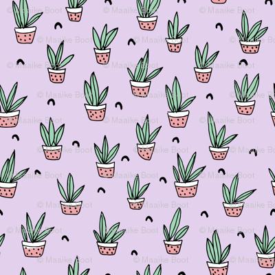 Pop culture series aloe vera green home garden plants and pots illustration print design violet lavender SMALL