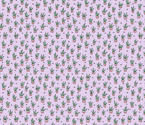 Pop culture series aloe vera green home garden plants and pots illustration print design violet lavender SMALL fabric by littlesmilemakers on Spoonflower - custom fabric