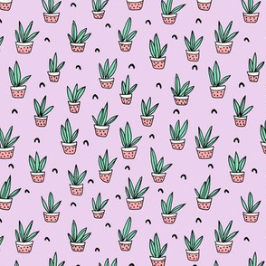 Pop culture series aloe vera green home garden plants and pots illustration print design violet lavender SMALL
