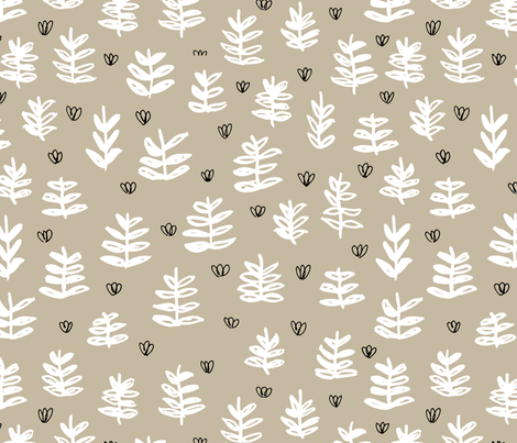 Pop culture series green home garden plants leaves illustration print design beige fabric by littlesmilemakers on Spoonflower - custom fabric