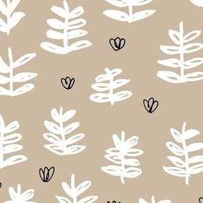 Pop culture series green home garden plants leaves illustration print design beige