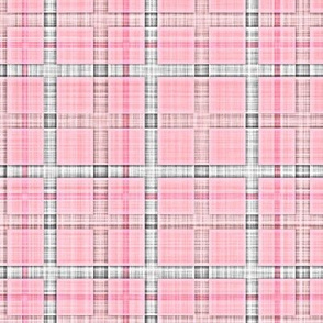 Plaid Check Tartan Grid Stripes Grunge Pencil Scratch Light Pink