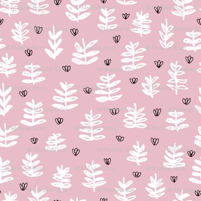 Pop culture series green home garden plants leaves illustration print design pink girls SMALL