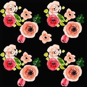 Modern Peach and Coral Florals on Black