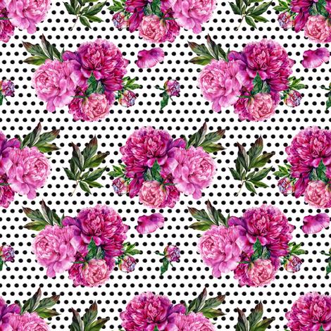 "4"" Peony Bouquet // Black Dots fabric by hipkiddesigns on Spoonflower - custom fabric"