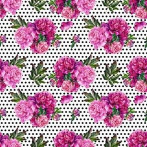 "4"" Peony Bouquet // Black Dots"