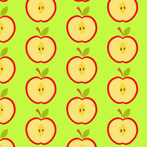 Bright print with halves of apples