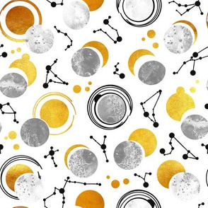 Great Total Solar Eclipse // white background grey moons golden sun reflections black constellations