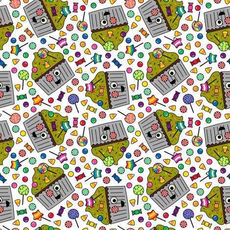 Zombie Cupcake White Small fabric by modgeek on Spoonflower - custom fabric