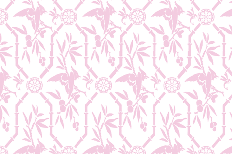 Bird Pavilion Chinoiserie sorbet double size fabric by lilyoake on Spoonflower - custom fabric