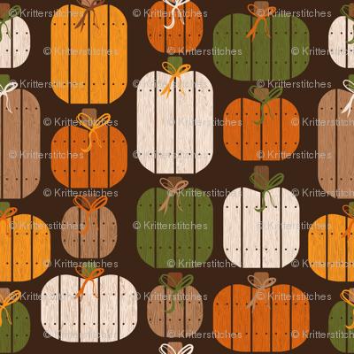 Rustic Wood Pumpkins - Brown
