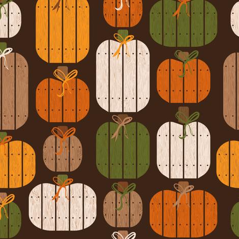 Rustic Wood Pumpkins - Brown fabric by robinskarbek on Spoonflower - custom fabric
