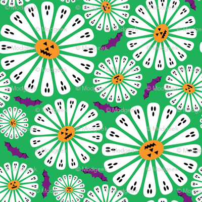 Halloween Floral Green Small