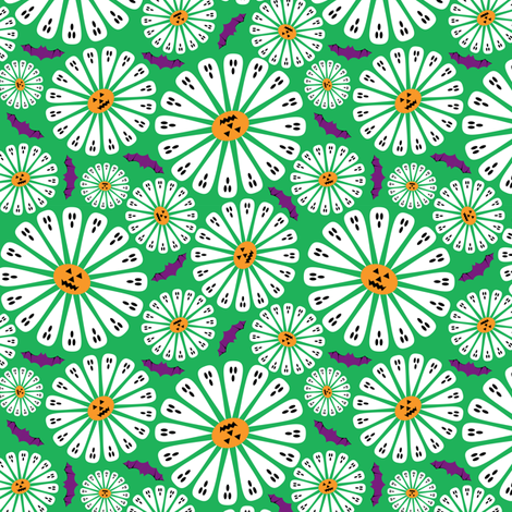 Halloween Floral Green Small fabric by modgeek on Spoonflower - custom fabric