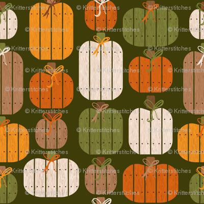 Rustic Wood Pumpkins - Green