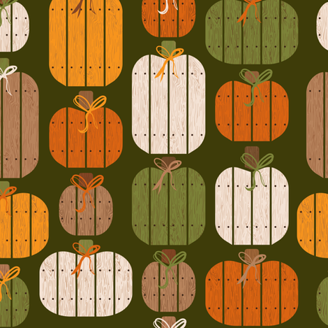 Rustic Wood Pumpkins - Green fabric by kritterstitches on Spoonflower - custom fabric
