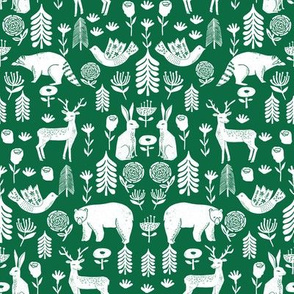 Christmas folk scandinavian winter holiday forest animals green_2