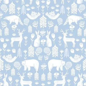 Christmas folk scandinavian winter holiday forest animals lite_blue