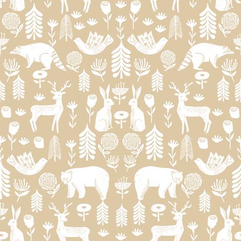 Christmas folk scandinavian winter holiday forest animals neutral_2 fabric by andrea_lauren on Spoonflower - custom fabric