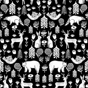 Christmas folk scandinavian winter holiday forest animals black