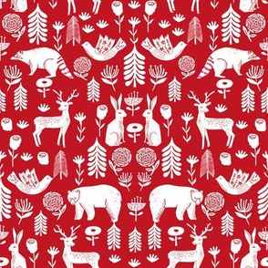 Christmas folk scandinavian winter holiday forest animals red