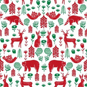 Christmas folk scandinavian winter holiday forest animals red_green