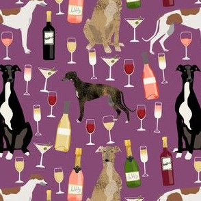 greyhounds and wine fabric - dogs and wine bubbly celebration fabric - amethyst