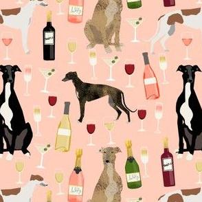 greyhounds and wine fabric - dogs and wine bubbly celebration fabric - blush