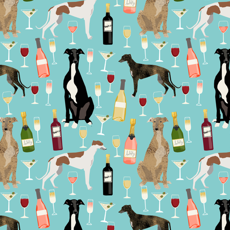 greyhounds and wine fabric - dogs and wine bubbly celebration fabric - light blue fabric by petfriendly on Spoonflower - custom fabric