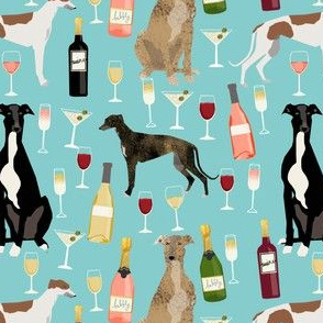greyhounds and wine fabric - dogs and wine bubbly celebration fabric - light blue