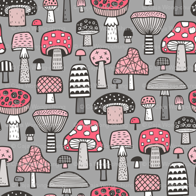 Mushrooms Geometric Fall Autumn Red & Pink on Grey