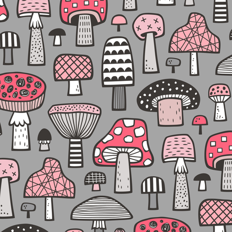 Mushrooms Geometric Fall Autumn Red & Pink on Grey fabric by caja_design on Spoonflower - custom fabric