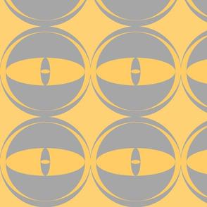 all eyes mustard yellow grey