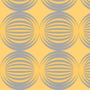 striped spheres mustard yellow grey