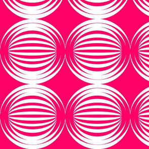 large striped spheres bright pink white