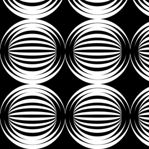 large striped spheres black and white