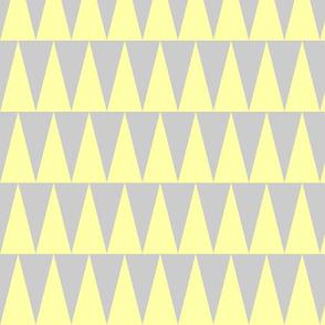 tall triangles pale lemon yellow grey
