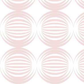 large striped spheres pale pink white