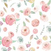 Blush Pinks & Pastels Floral Purple MInt