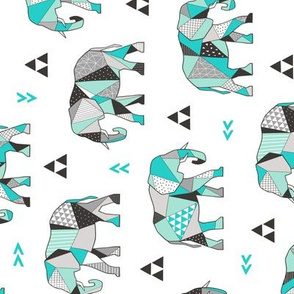 Elephants Geometric with Triangles Mint green Rotated