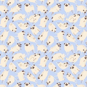 "1"" Pugs in Action - periwinkle"
