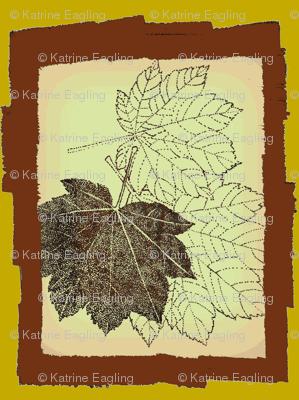 pointillism framed maple leaf-brn/green/peach