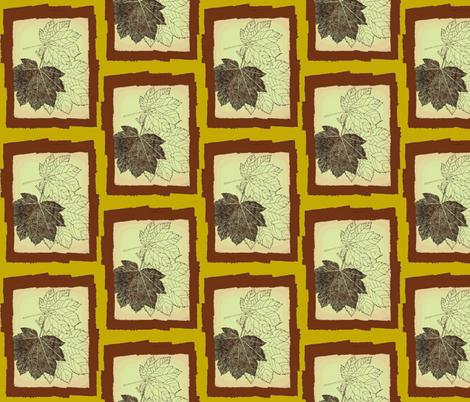 pointillism framed maple leaf-brn/green/peach fabric by kae50 on Spoonflower - custom fabric