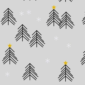 christmas tree geometric winter trees snow holiday christmas - grey