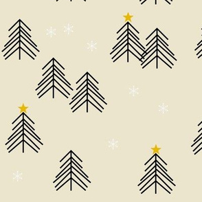 christmas tree - winter trees snow scandinavian christmas pale yellow
