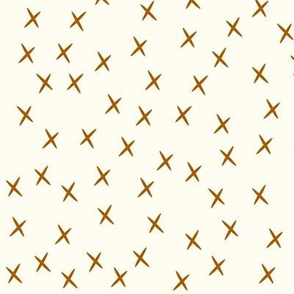 Crosses - rusty orange on ivory